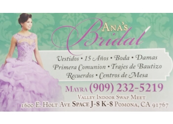 Pomona bridal shop Ana's Bridal