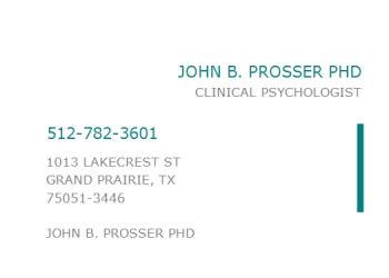 Grand Prairie psychologist Dr. John B. Prosser, Ph.D