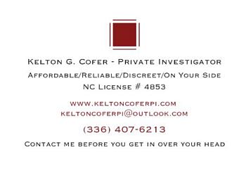 Winston Salem private investigators  Kelton G. Coferc